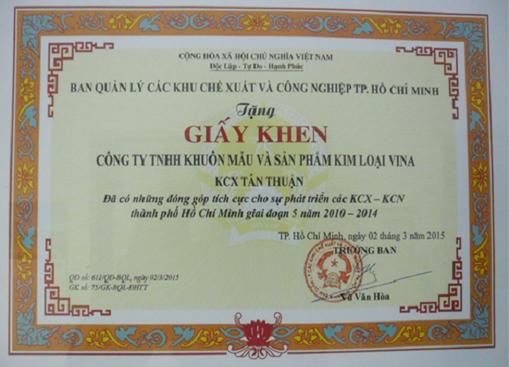 Giấy khen BQL tặng 2015